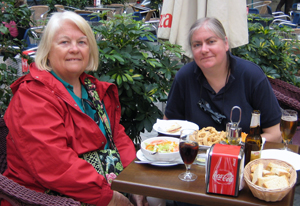 Mom and me at a Cafe in Malaga, Spain